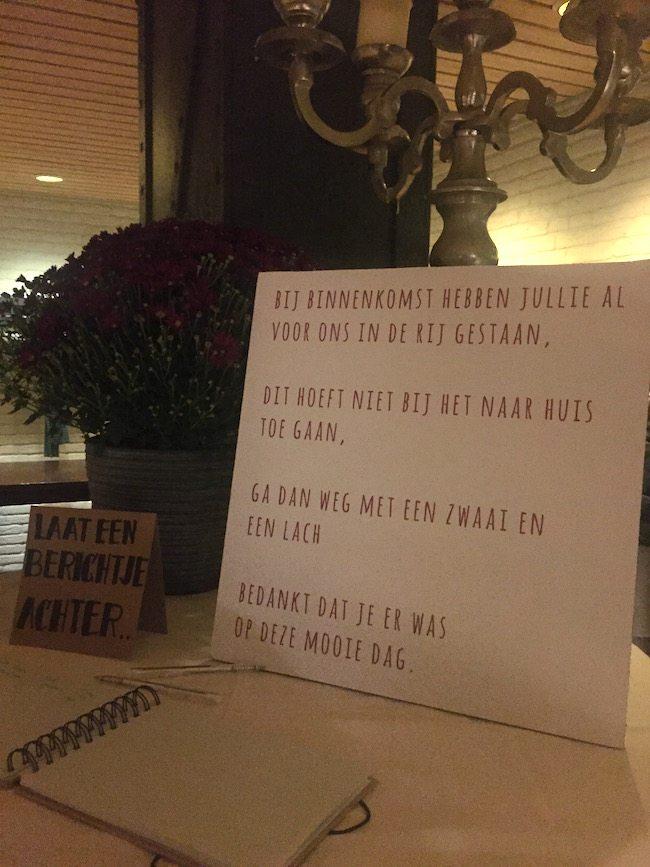 Het gastenboek en een leuk gedicht bij aankomsten voor vrienden en familie voor Jacomine & Michiel! #tip #handig ????